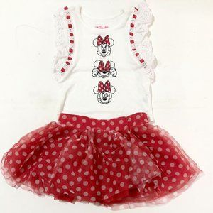 Brand new without tags Disney Minnie White and Red Tutu set
